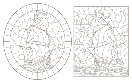 A set of contour illustrations of stained glass Windows with old sailing ships, dark contours on a white background Ilustração