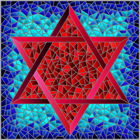 Illustration in stained glass style six-pointed star of David, red star on a blue background, square image
