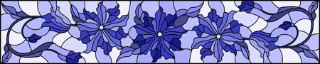 Illustration in stained glass style with flowers, leaves and buds of  flowers  , symmetrical image, horizontal, orientation, tone  blue