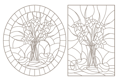 A set of contour illustrations of stained glass Windows with still lifes, bouquets of daffodils and fruits, dark contours on a white background