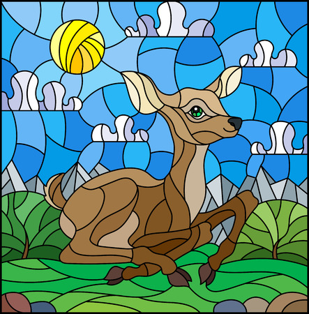 Illustration in stained glass style with a fawn on the background of green meadows, mountains and cloudy sky