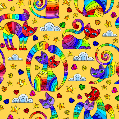 Seamless pattern with bright abstract cats, stars and hearts, color drawings on yellow background Illustration