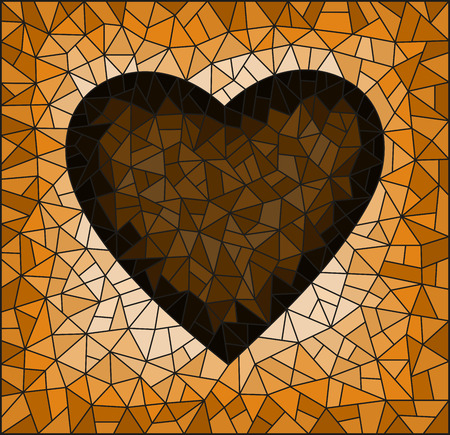 Illustration in stained glass style with abstract  heart onon a cracked background, rectangular image, tone brown,  Sepia