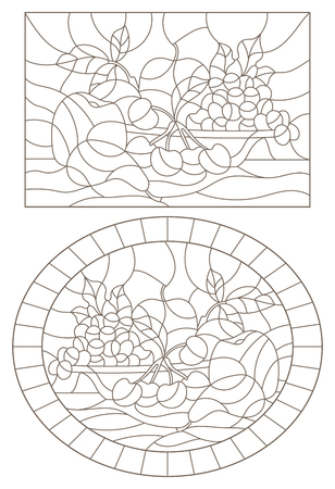 A set of contour illustrations of stained glass Windows with fruit still lifes, dark contours on a white background Vectores