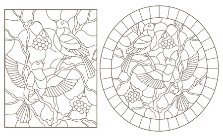 A set of contour illustrations of stained glass Windows with bullfinches sitting on the branches of snow-covered mountain ash, dark contours on a white background