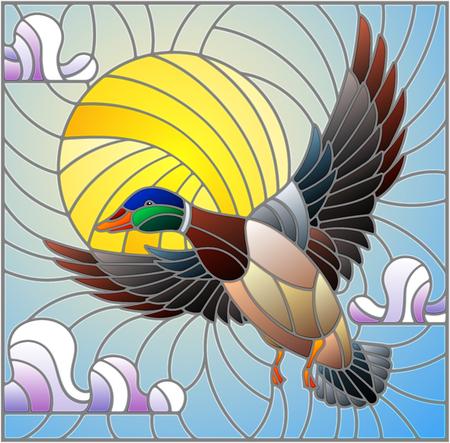 Die Illustration in Buntglasmalerei mit einer fliegenden Ente auf dem Hintergrund von Himmel, Sonne und Wolken Vektorgrafik
