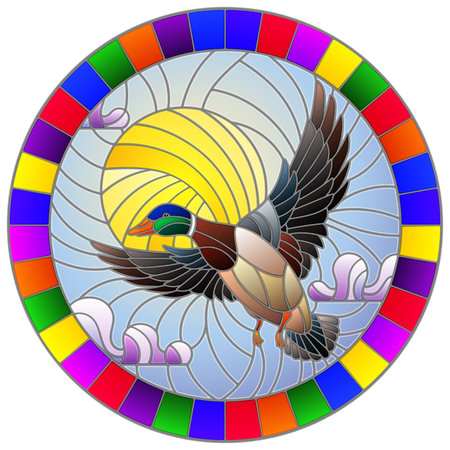 The illustration in stained glass style painting with a flying duck on the background of sky, sun and clouds, the oval image of the bright frame