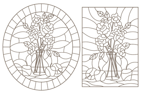 Contour set of stained glass Windows with still lifes, roses in a vase and apples, dark contours on a white background Vectores
