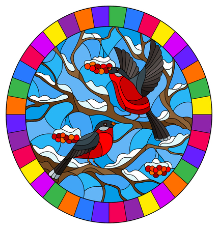 Illustration in stained glass style with a pair of bullfinches, on the background of snow-covered mountain ash tree,oval image in bright frame