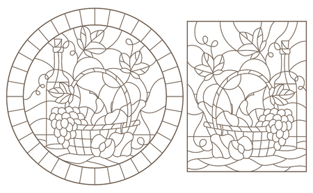 A set of contour illustrations of stained glass Windows with still lifes, a bottle of wine and fruit ,dark contours on a white background Vectores