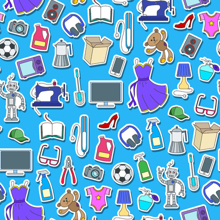Seamless pattern on a theme of products and shopping, simple sticker icons, color patch  icons on blue background