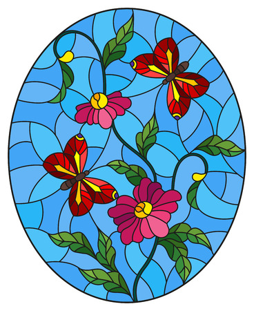 Illustration in stained glass style with abstract curly pink flowers and a red butterfly on blue background , oval image 向量圖像