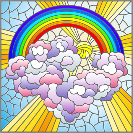 Illustration in stained glass style with celestial landscape, sun and clouds on rainbow background,square image
