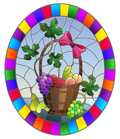 The illustration in stained glass style painting with a still life, fruit basket,  and fruits on a blue background, oval image in bright frame