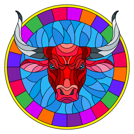 Illustration in stained glass style with red  bull head in round frame on white background