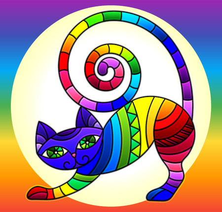 Illustration in stained glass style with bright rainbow cat in a circle on a rainbow background