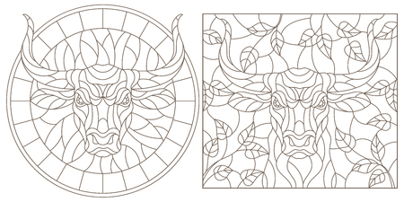 A set of contour illustrations of stained glass Windows with a bull's head, round and rectangular image, dark contours on a white background