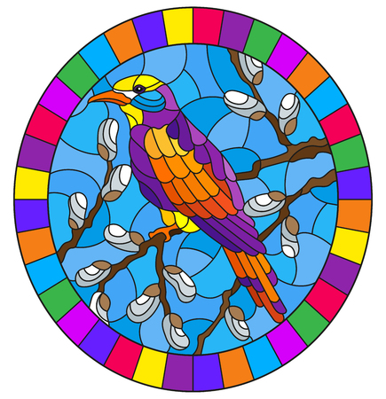 Illustration in stained glass style with a bright bird on willow branches against the sky,oval image in bright frame Vettoriali