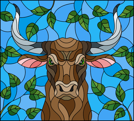 Illustration in stained glass style with bull head,on the background of tree branches and the sky, a rectangular image Stock Vector - 122630564