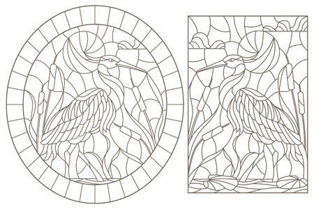 Set of contour illustrations of stained glass Windows with herons on the background of the swamp, dark contours on a white background