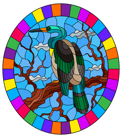 Illustration in stained glass style with a Heron bird sitting on a tree on a background of swamp and sky, oval image in bright frame