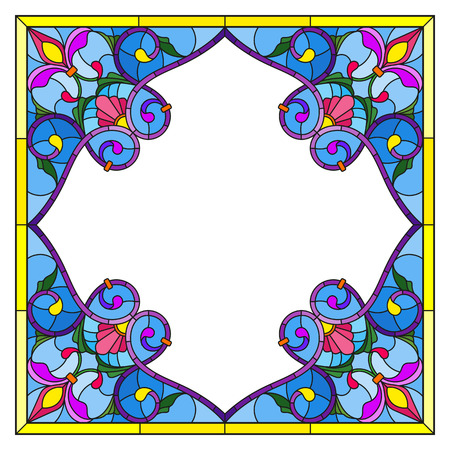 Illustration in stained glass style flower frame, bright flowers and  leaves in blue frame on a white background 向量圖像