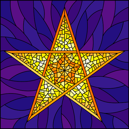 Illustration in stained glass style with abstract yellow five-pointed star on blue background