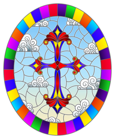 Illustration in stained glass style with bright cross on a background of blue sky and clouds,oval image in bright frame Vector Illustration