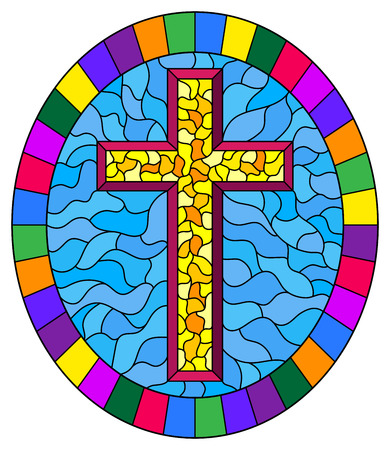 Illustration in stained glass style with a yellow cross on an abstract blue background, oval picture frame in bright