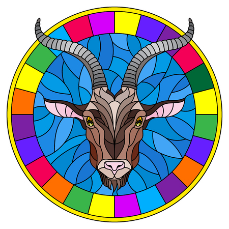 Illustration in stained glass style with goat head in round frame on white background Illustration