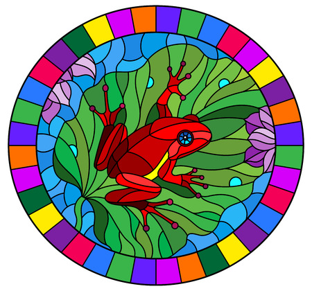 Illustration in stained glass style with abstract red frog on Lotus leaf on water and flowers, oval image in bright frame