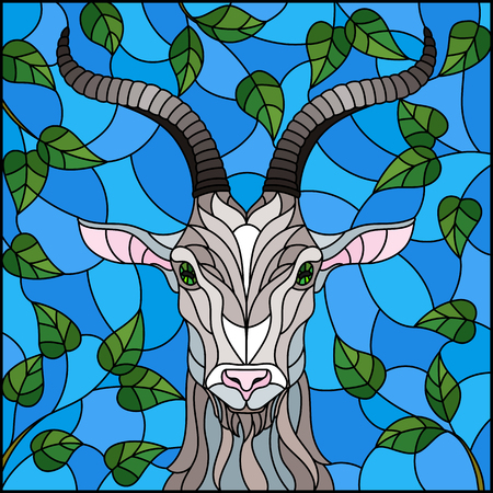 Illustration in stained glass style with goat head,on the background of tree branches and the sky, a rectangular image