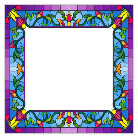 Illustration in stained glass style flower frame, bright flowers and  leaves in blue frame on a white background Ilustração