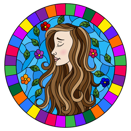 The illustration in stained glass style painting with a girl with brown hair and tree branches on background of blue sky, oval image in bright frame