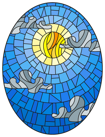 Illustration in stained glass style sun and clouds on blue sky background, oval image  Ilustração