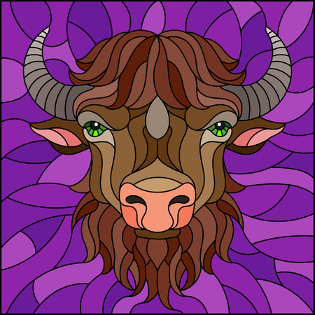 Illustration in stained glass style with bison head in round frame on white background