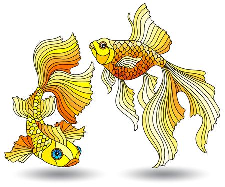 Conjunto de elementos de vidrieras con peces de acuario, peces de colores aislados sobre fondo blanco. Ilustración de vector
