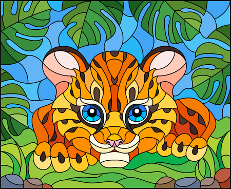 Illustration in stained glass style with a baby Cheetah on the hunt, against the leaves of tropical plants Illustration