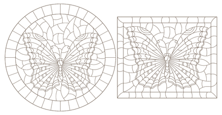 Contour set of illustrations of stained glass with butterflies , dark outline on a white background