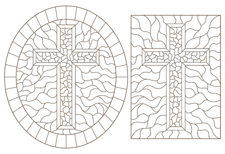 Set contour illustrations with Christian cross  ,black contour on white background