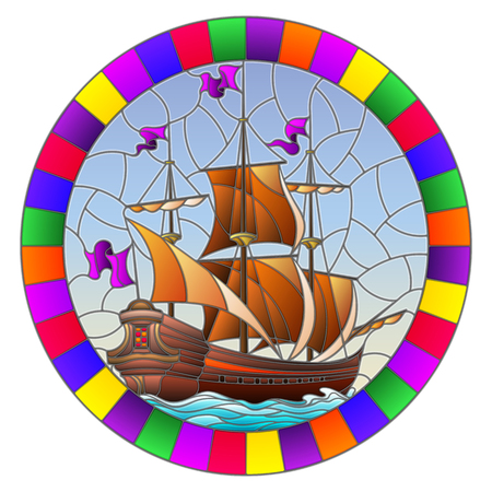 Illustration in stained glass style with an old ship sailing with brown sails against the sea,  oval image in a bright frame