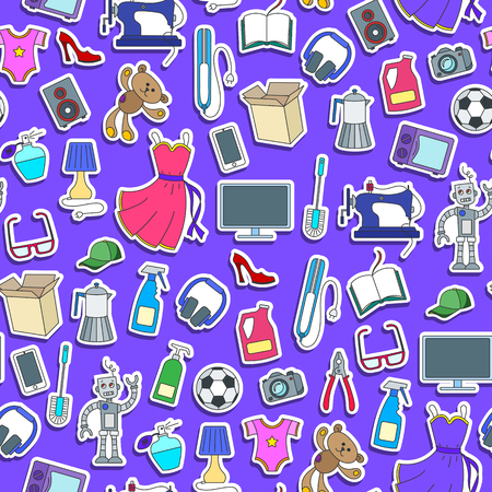 Seamless pattern on a theme of products and shopping, simple sticker icons, color patch  icons on purple background