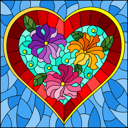 Illustration in stained glass style with bright red heart and flowers on blue background