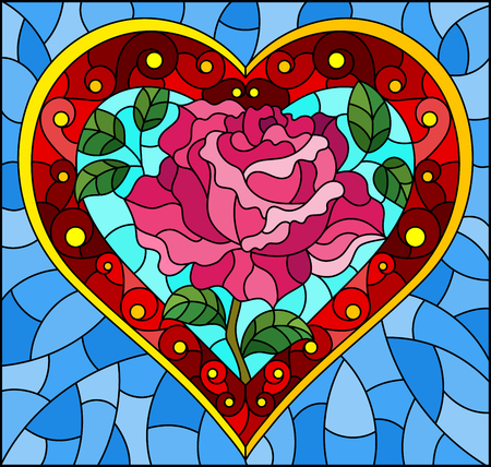 Illustration in stained glass style with bright red heart and rose flower on blue background 向量圖像