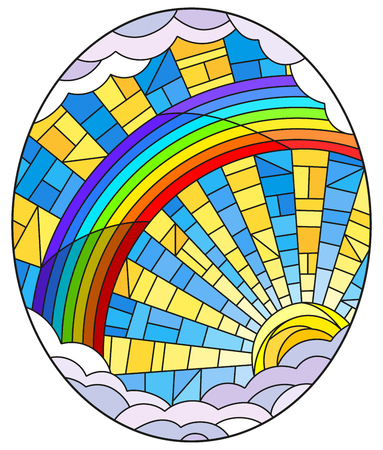 Illustration in stained glass style sun ,rainbow and clouds on blue sky background, oval image