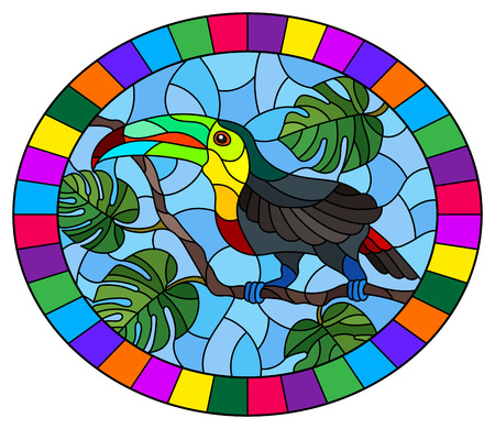 Illustration in stained glass style bird Toucan on branch tropical tree against the sky, oval image in bright frame 向量圖像