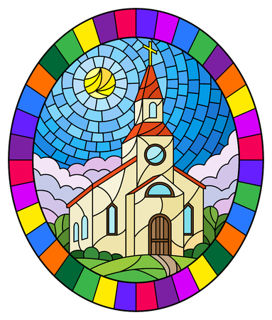 Illustration in stained glass style with Church on the background of summer landscape, a Church on the background of the Sunny sky and green trees, oval image in bright frame Stok Fotoğraf - 124389190
