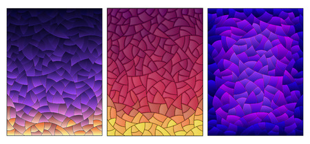 Illustration in stained glass style with set of abstract blue-purple gradient backgrounds, imitation of the night sky