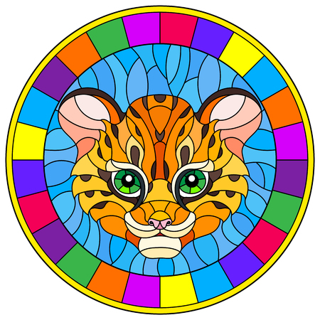 Illustration in stained glass style with baby leopard head on blue background , round picture in bright frame