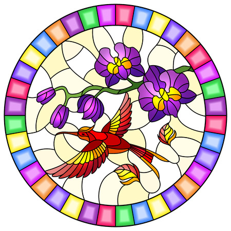 Illustration in stained glass style with a branch of purple  Orchid and bright red Hummingbird on a yellow background, round image in bright frame